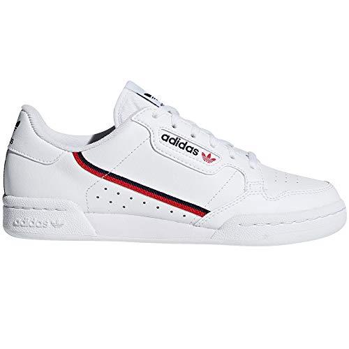 Adidas Continental 80 Weiß, Sneakers für Damen. Tennis, Sneaker. Vintage Nostalgie (36.5 EU, White/Scarlet/Navy)