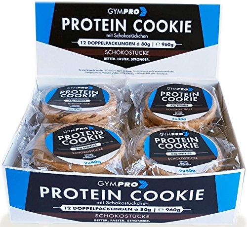 GymPro - Fitness Protein Cookies (Schokostücke, 1 Display á 12 Stück) Eiweißriegel Snack mit 28% Whey Protein und circa 44% Kohlenhydraten