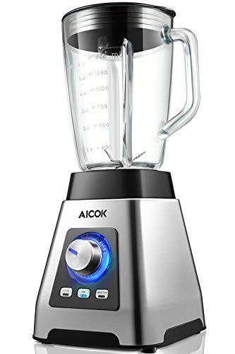 Mixer Smoothie Maker 1000W, Aicok Standmixer mit 6-Blatt Edelstahlmesser für Smoothies, Suppen und Nüsse, 7 Geschwindigkeiten, 1,5L Glasbehälter BPA-frei, 3 Programme, 24000 rpm.