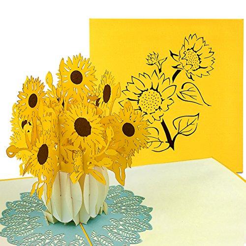 PaperCrush® Pop-Up Karte Muttertag Sonnenblumen - 3D Blumenkarte für Mutter, Oma (Muttertagskarte, Geburtstagskarte, Danke, Gute Besserung) - Handgemachte Popup Glückwunschkarte mit Blumen