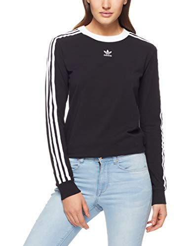 adidas Damen 3-Stripes Longsleeve, Black, 34