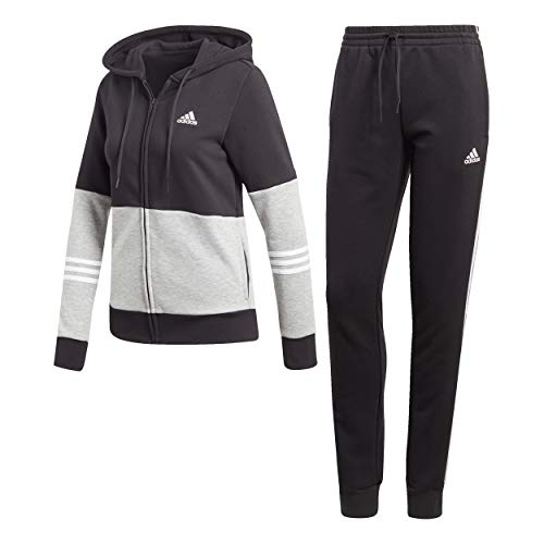 adidas Damen Cotton Energize Trainingsanzug, Black/Medium Grey Heather/White, S