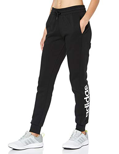 adidas Damen Essentials Linear Fleece Trainingshose, Black/White, M