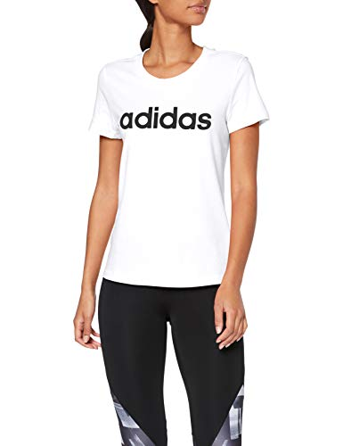 adidas Damen Essentials Linear Slim T-Shirt, White/Black, S