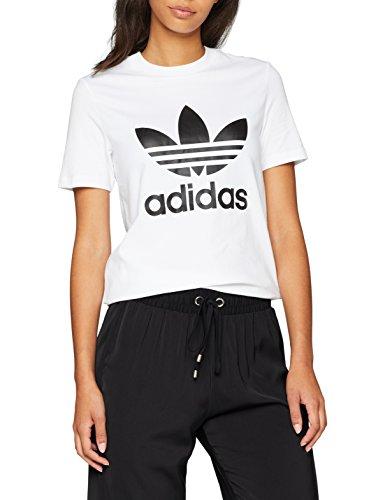 adidas Damen Trefoil Tee T-Shirt, Weiß (White/Black), D32