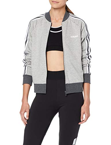 adidas Damen W E CB FZ Bomb Sweatshirt, medium Dark Grey Heather/White, L