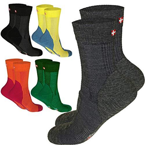 DANISH ENDURANCE Leichte Merino Wandersocken (EU 39-42, Mehrfarbig (2 x Grüne, 1 x Gelb) - 3 Paare)