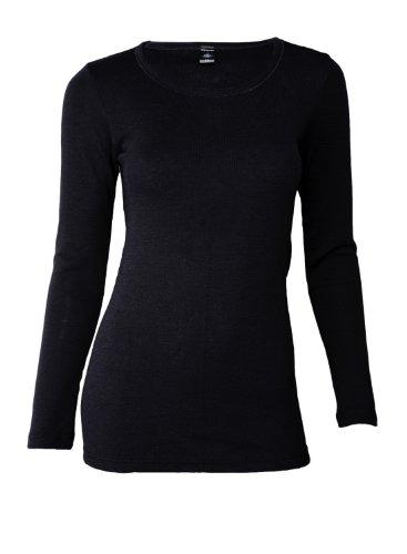 Dilling Merino Langarmshirt für Damen - Extra Feine Unterwäsche aus 100% Bio Merinowolle Schwarz 38