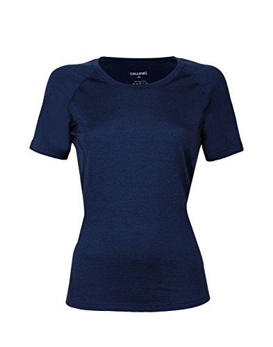 Dilling Merino T-Shirt für Damen - aus 100% extra feiner, hautfreundlicher, exklusiver Merinowolle Dunkelblau 38