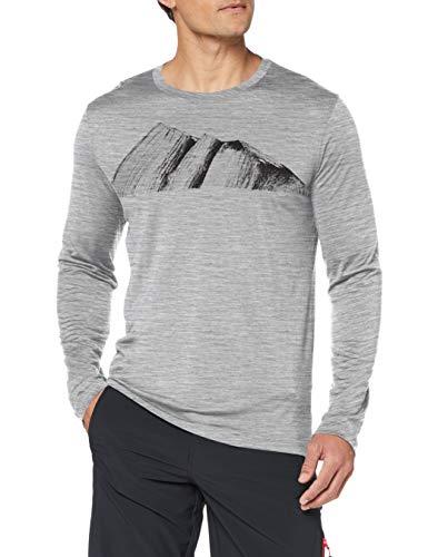 Icebreaker Herren Mens Tech Lite LS Crewe Remarkables T-Shirt, Metro Hthr, M