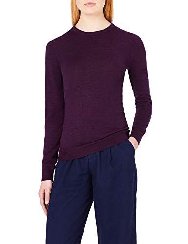 MERAKI Merino Pullover Damen mit Rundhals, Rot (Berry Marl), 38 (Herstellergröße: Medium)