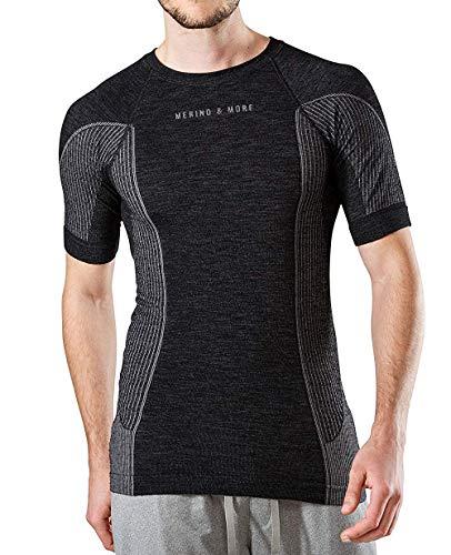 Merino & More Herren Merino Shirt - Premium Funktionsunterwäsche aus hochwertiger Merinowolle - Sport - Funktionsshirt - Kurzarm schwarz-grau Gr. XL