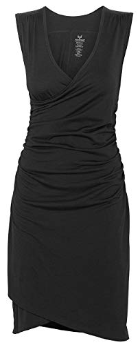 MERINO POWER Merinopower Damen Kleid mit Raffung am Bauch und in Wickel-Optik aus Reiner Merinowolle, XS, Schwarz