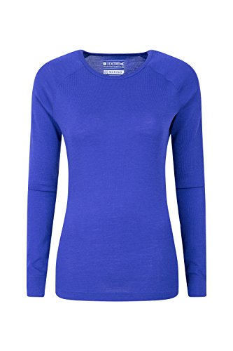 Mountain Warehouse Merino Baselayer-Thermotop für Damen - Leichtes, atmungsaktives Damen-T-Shirt, antibakterielle Bluse - Für Urlaub bei kaltem Wetter Winter Baselayer Violett DE 38 (EU 40)