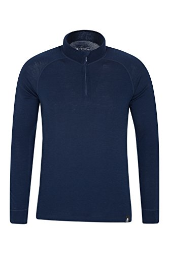 Mountain Warehouse Merino Langarm Baselayer-Thermotop für Herren - Atmungsaktives T-Shirt, Halbreißverschluss, bequemes T-Shirt - Ideal zum Campen Winter Baselayer Marineblau X-Large