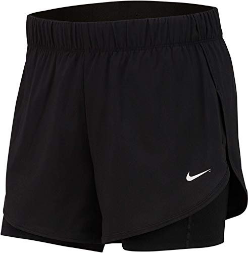 Nike Damen Flex 2in1 Trainingsshorts, Schwarz (Black/Black/White), M