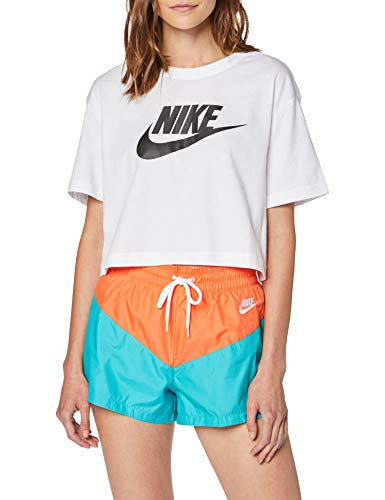 Nike Damen W NSW Tee ESSNTL CRP ICN FTRA T-Shirt, White/Black, XS