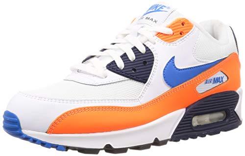 Nike Herren Air Max 90 Essential Leichtathletikschuhe, Mehrfarbig (White/Photo Blue/Total Orange 104), 47 EU