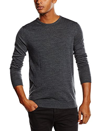 SELECTED HOMME Herren SHDTOWER MERINO CREW NECK NOOS Pullover, Grau (Medium Grey Melange), Large