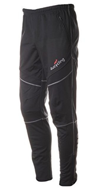 4Ucycling lang Fahrrad Hose Winddicht Thermo Fleece Radhose Laufhose Winter, Schwarz Classic,...