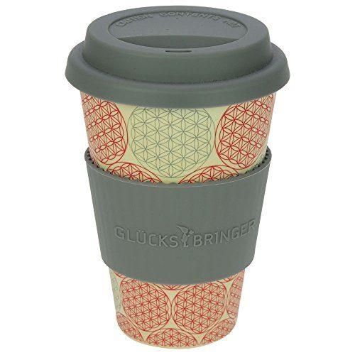 ebos Glücksbringer Coffee-to-Go-Becher aus Bambus | Kaffee-Becher, Trink-Becher | ökologisch abbaubar, wiederverwendbar, umweltfreundlich | lebensmittelecht, spülmaschinengeeignet (Blume des Lebens)