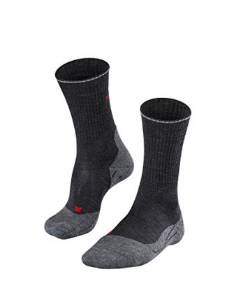 FALKE Herren Wandersocken TK2 Wool Silk, Schurwollmischung, 1 Paar, Grau (Anthracite Melange...