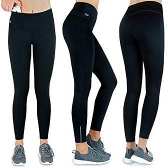 Formbelt® Thermo Leggings Damen Winter Laufhose mit Tasche lang - Stretch-Hose hüfttasche...
