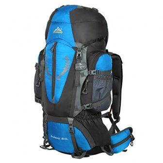 Hwjianfeng Damen Herren Backpacker Rucksack 80L+5L wasserdicht, Blau