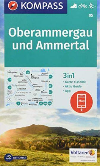 KOMPASS Wanderkarte Oberammergau und Ammertal: 3in1 Wanderkarte 1:35000 mit Aktiv Guide inklusive...