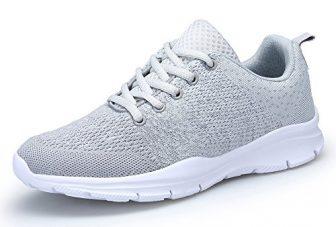 KOUDYEN Damen Laufschuhe Atmungsaktiv Turnschuhe Schnürer Sportschuhe Sneaker,XZ746-W-grey-EU39