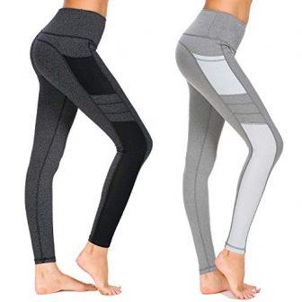 Munvot Damen Sporthose Sport leggings Tights, A1988 / 2er Pack (Dunkel Grau+hell...