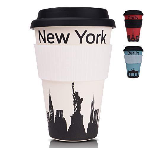 PRIME ART WOOD Bambus Coffee-to-Go Becher (inkl. optimalem Hitzeschutz) Kaffee-Becher, Trink-Becher | Umweltfreundlich, Spülmaschinenfest, Lebensmittelecht, 450ml (Weiß, New York)