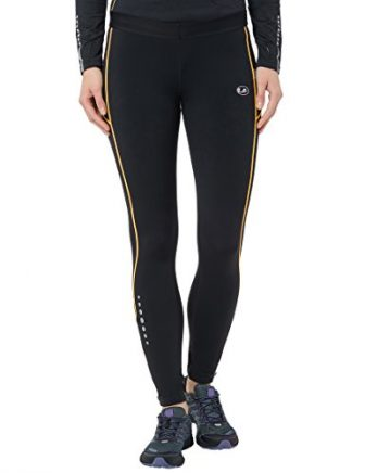 Ultrasport Damen Laufhose Thermo-Dynamic lang, gefüttert mit Quick-Dry-Funktion, schwarz/gelb, M