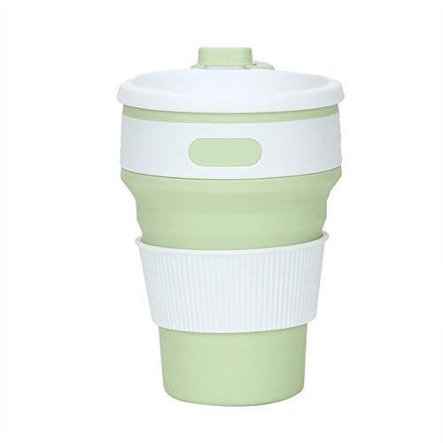 vngfghjjhkhjk 350ml Folding Silikon bewegliche Trinken zusammenklappbarer Kaffeetasse für Reisen Grüne Farbe
