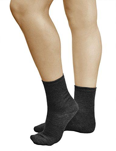 vitsocks 3 Paar Damen Wollsocken, PREMIUM MERINO WOLLE, Klimaregulierende Wirkung, Classic, 39-42, dunkelgrau